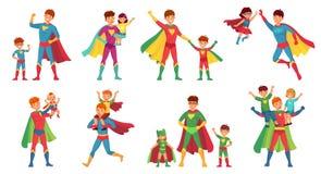 Supereroe del padre del fumetto Giorno di padri felice, genitore eccellente con i bambini ed insieme dell'illustrazione di vettor royalty illustrazione gratis