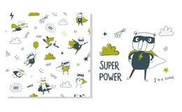 Supereroe dell'orso Progettazione di superficie e modello senza cuciture per i bambini illustrazione di stock