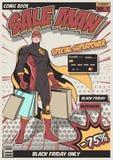 Supereroe di Black Friday dell'uomo di vendita illustrazione vettoriale