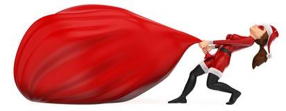 supereroe di natale della donna 3D che trascina una borsa enorme dei regali illustrazione di stock