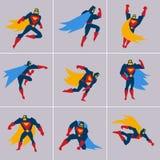 Supereroe nell'azione Pose differenti della siluetta illustrazione vettoriale
