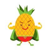 Supereroe sorridente dell'ananas del fumetto sveglio nella maschera ed in capo verde, illustrazione umanizzata variopinta del car illustrazione di stock