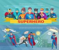 Supereroe Team Banners Set Immagine Stock Libera da Diritti