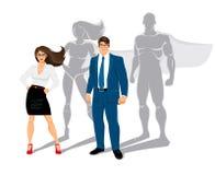 Supereroi dell'ufficio della donna di affari e dell'uomo d'affari illustrazione di stock