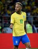 Superestrella brasileña Neymar después de la segunda meta en el mundo C de la FIFA fotos de archivo libres de regalías