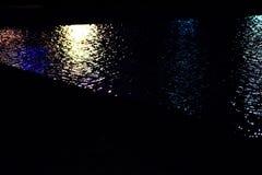 Superfície amarela azul da água na noite foto de stock royalty free