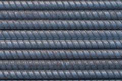 Superfície da barra de aço, fundo do Rebar Fotografia de Stock Royalty Free