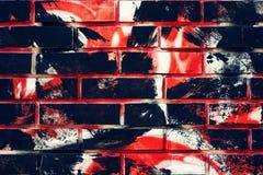 Superfície da parede de tijolo com cursos da escova de pintura do grunge Fotografia de Stock