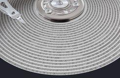 Superfície de disco rígido e cabeça magnética Fotografia de Stock Royalty Free