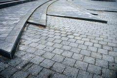 A superfície de estrada dos blocos de cimento imagem de stock