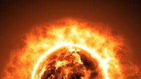 Superfície de Sun com alargamentos solares Fundo científico abstrato Fotos de Stock Royalty Free