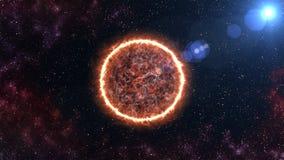 Superfície de Sun com alargamentos solares rendição 3d ilustração stock
