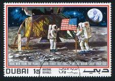Superfície do astronauta e da lua Fotos de Stock