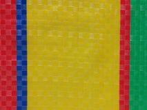 Superfície do fundo da listra da cor do saco, camada da cor do verão, grade do tabuleiro de xadrez da cor, azuis marinhos amarelo Imagem de Stock Royalty Free