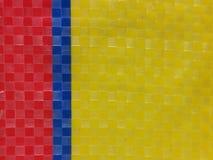 Superfície do fundo da listra da cor do saco, camada da cor do verão, grade do tabuleiro de xadrez da cor, azul marinho amarelo v Fotos de Stock