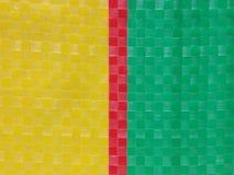 Superfície do fundo da listra da cor do saco, camada da cor do verão, grade do tabuleiro de xadrez da cor, verde amarelo vermelho Imagem de Stock Royalty Free