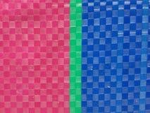 Superfície do fundo da listra da cor do saco, camada da cor do verão, grade do tabuleiro de xadrez da cor, verde cor-de-rosa e az Fotos de Stock Royalty Free