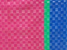 Superfície do fundo da listra da cor do saco, camada da cor do verão, grade do tabuleiro de xadrez da cor, verde cor-de-rosa e az Imagens de Stock