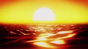 Superfície dourada do oceano do mar na animação do por do sol vídeos de arquivo
