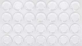 A superfície moderna do branco do estilo nas placas brancas gosta de discos Fundo decorativo do papel de parede 3d rendem ilustração stock