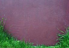 Superfície pintada velha com grama verde Imagens de Stock Royalty Free