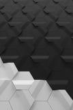- Superfície sextavada cinzenta da parede do relevo - fundo vertical cinzento e claro escuro Fotos de Stock