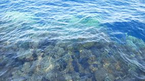Superfície transparente azul da água no mar ou no oceano com as ondas pequenas do vento filme
