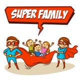 Superfamilie Vater-Mother Daughter Son-Superhelden set Stockfoto
