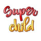 Superfamilientext - Superkinderfarbkalligraphie stock abbildung