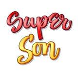 Superfamilientext - Supersohnfarbkalligraphie stock abbildung