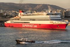 Superfast Ferry in Piraeus Harbour at sunset. 
