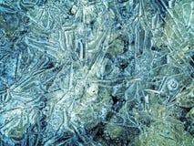 Superfície rachada do gelo Fotos de Stock Royalty Free