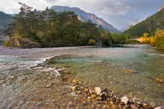 Superficial mountain river. The mountain river Verdon on the average current in the autumn royalty free stock images