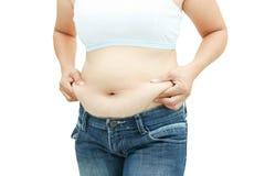Superficie abdominal de la mujer gorda Imágenes de archivo libres de regalías