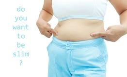 Superficie abdominal de la mujer gorda Fotografía de archivo