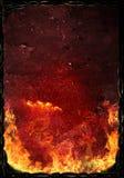Superficie arrugginita calda con le fiamme di fuoco Fotografia Stock