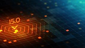 superficie astratta di griglia dell'ologramma 3D nello spazio di calcolo cyber con l'indicatore del segnale illustrazione di stock