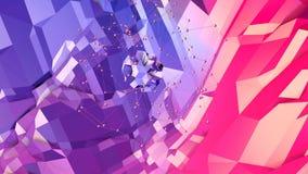 Superficie bassa semplice astratta 3D di rosso blu poli come fondo dello spazio Poli fondo basso geometrico molle di moto con pur illustrazione vettoriale