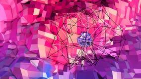 Superficie bassa semplice astratta 3D di rosso blu poli come griglia di cristallo Poli fondo basso geometrico molle di moto con i royalty illustrazione gratis