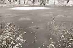 Superficie congelada del lago Fotografía de archivo libre de regalías