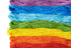 Superficie coperta di filati del filo del ricamo Fotografie Stock