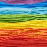 Superficie coperta di filati del filo del ricamo Fotografia Stock
