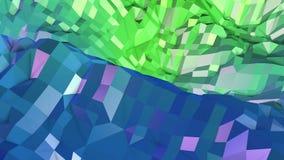superficie 3d come poli fondo geometrico astratto basso 3d con i colori moderni di pendenza, 2 verdi blu royalty illustrazione gratis