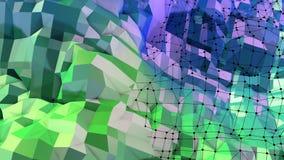 superficie 3d come poli fondo geometrico astratto basso 3d con i colori moderni di pendenza, 33 verdi blu illustrazione vettoriale
