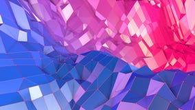 superficie 3d come 3d poli fondo geometrico astratto basso con i colori moderni di pendenza, viola blu rossa 85 illustrazione vettoriale