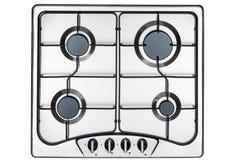 Superficie de la cocina en acero inoxidable con la parrilla del metal Visión desde arriba imagen de archivo libre de regalías
