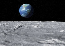 Superficie de la luna de la tierra Fotos de archivo libres de regalías