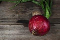 Superficie de madera de cebolla roja Fotos de archivo libres de regalías
