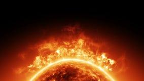 Superficie de Sun con las llamaradas solares ilustración del vector
