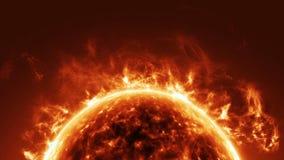 Superficie de Sun y llamaradas solares ilustración del vector